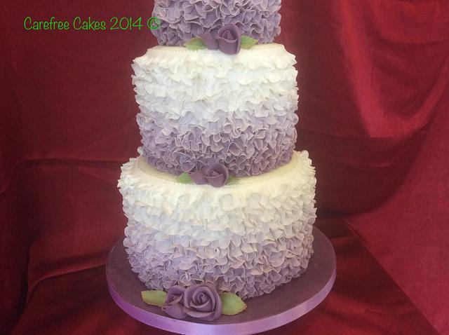 Rose and Ruffle Wedding Cake
