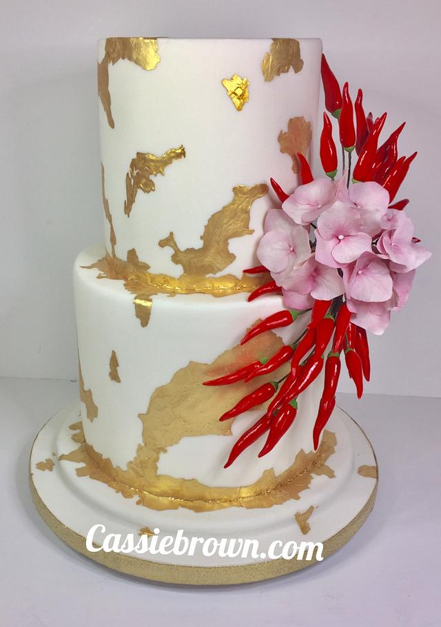 Gold leaf with chilli and hydrangea