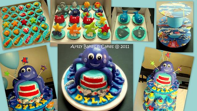 Octopus Under The Sea Theme Cake & Cupcake Tower