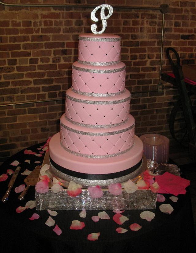 Pink & Bling Wedding Cake