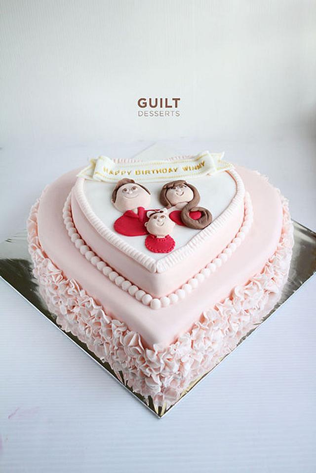 Sweet Ruffles Heart Cake