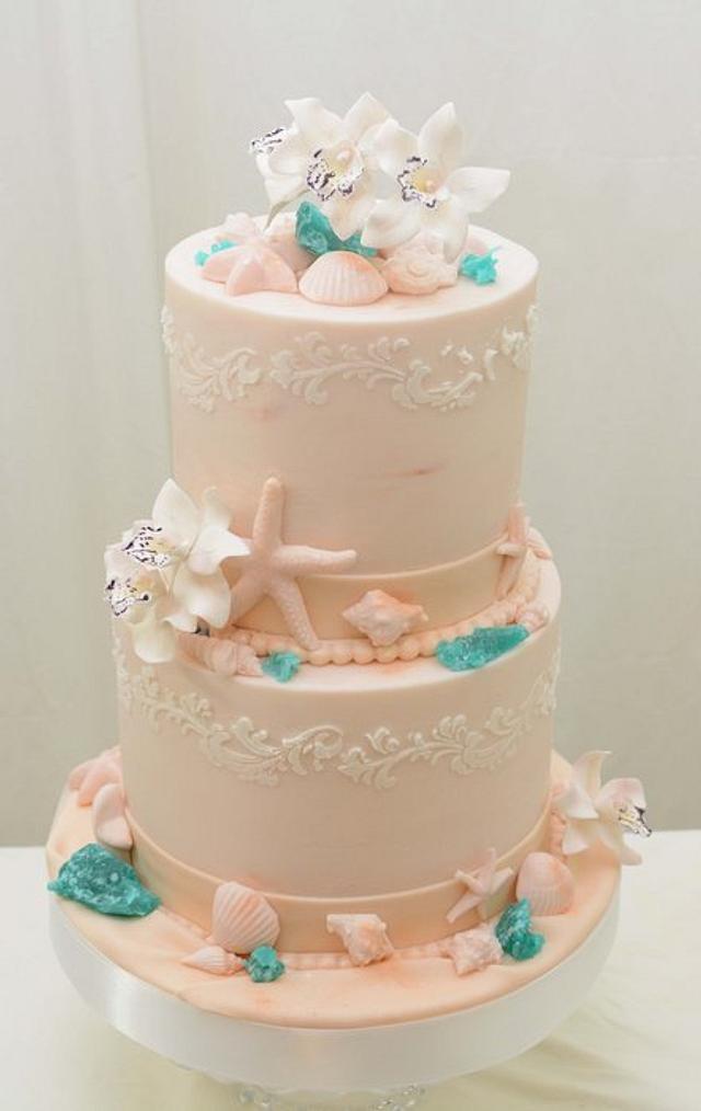 Beach Themed Cake with Sea Glass 2