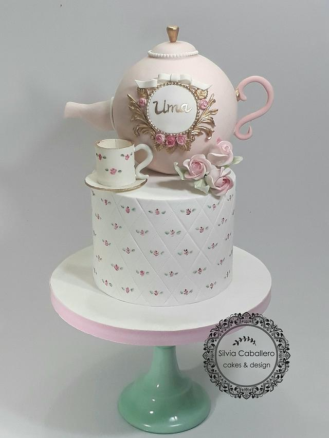 Fine Tea Party Cake Cake By Silvia Caballero Cakesdecor Personalised Birthday Cards Cominlily Jamesorg