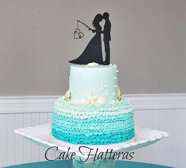 Sea Glass Colored Beach Wedding Cake and Cupcakes