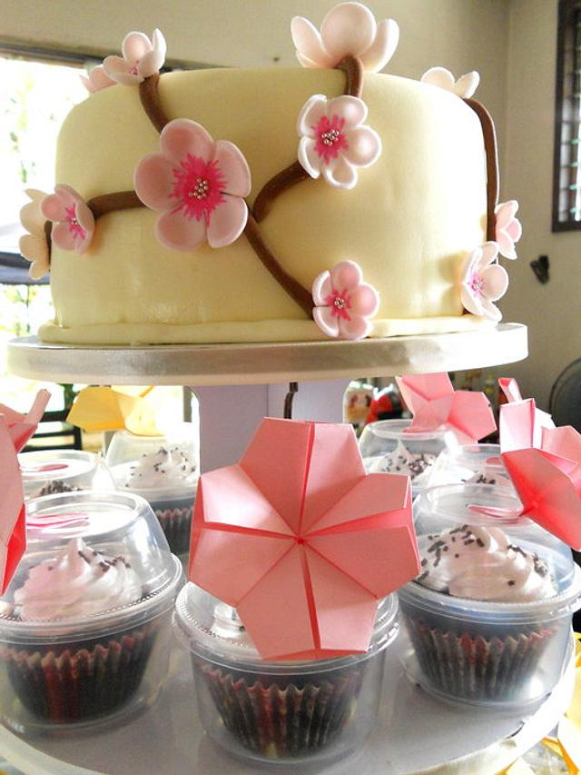 Cherry Blossoms Cake with Origami topped Cupcakes