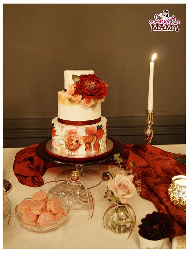 Chic Marsala Wedding Sweet Table