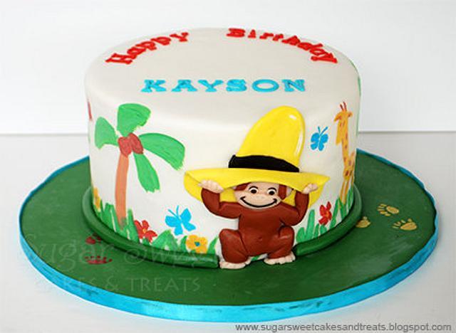 Curious George Painting Cake & Cupcakes