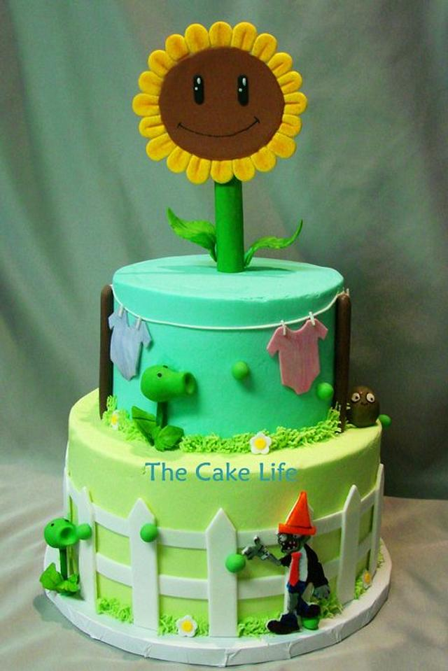 Plants vs zombies cake for a baby shower
