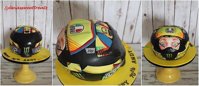 Valentino Rossi double face helmet cake.
