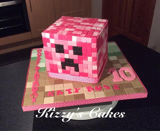 Minecraft Pink Creeper Cake