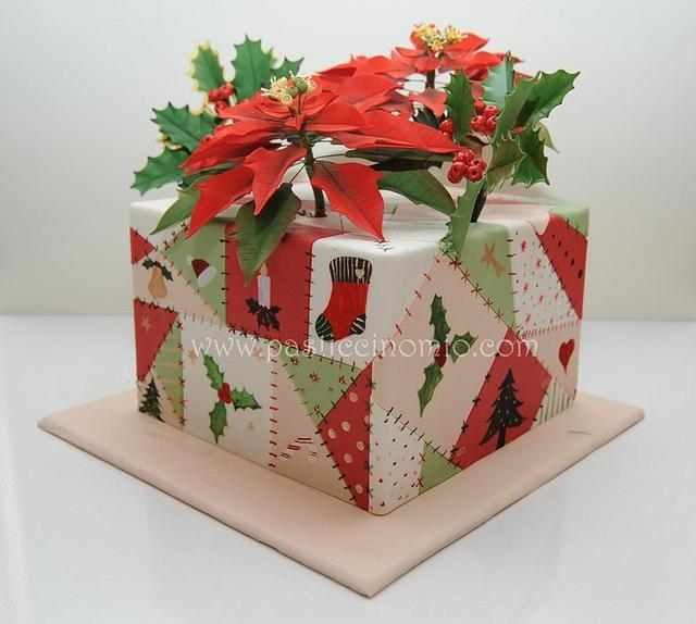 Patchwork Christmas Cake with Sugar Flowers