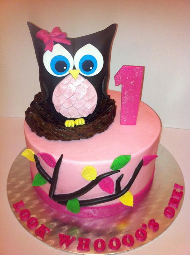 Miraculous First Birthday Owl Cake Cake By Carol Cakesdecor Personalised Birthday Cards Akebfashionlily Jamesorg