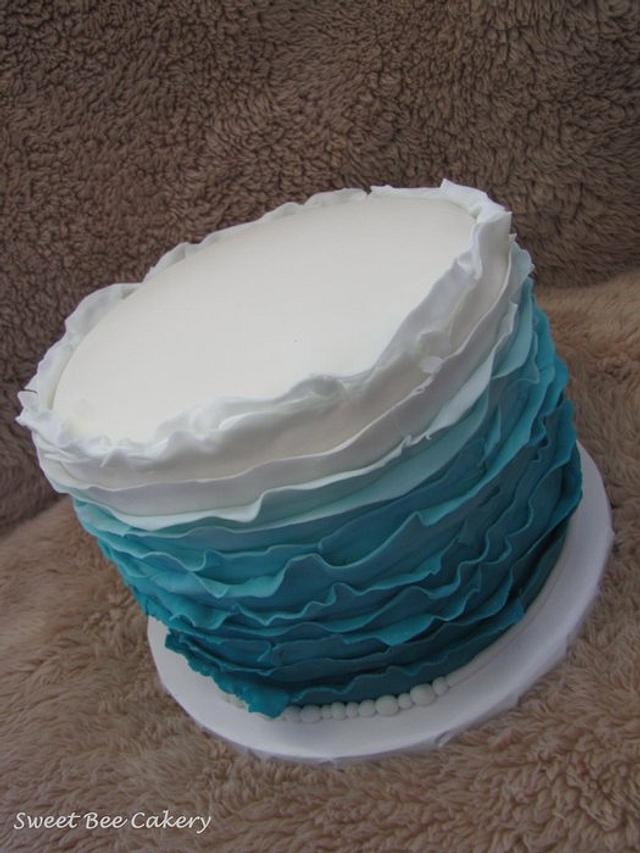 Teal ombre messy ruffles