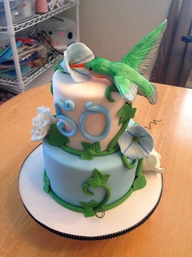 Astounding Hummingbird Birthday Cake Cake By Becky Pendergraft Cakesdecor Funny Birthday Cards Online Necthendildamsfinfo