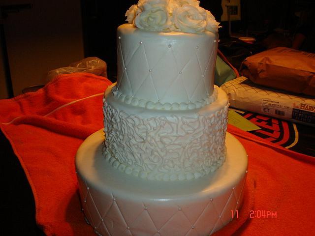 Three tier practice wedding cake