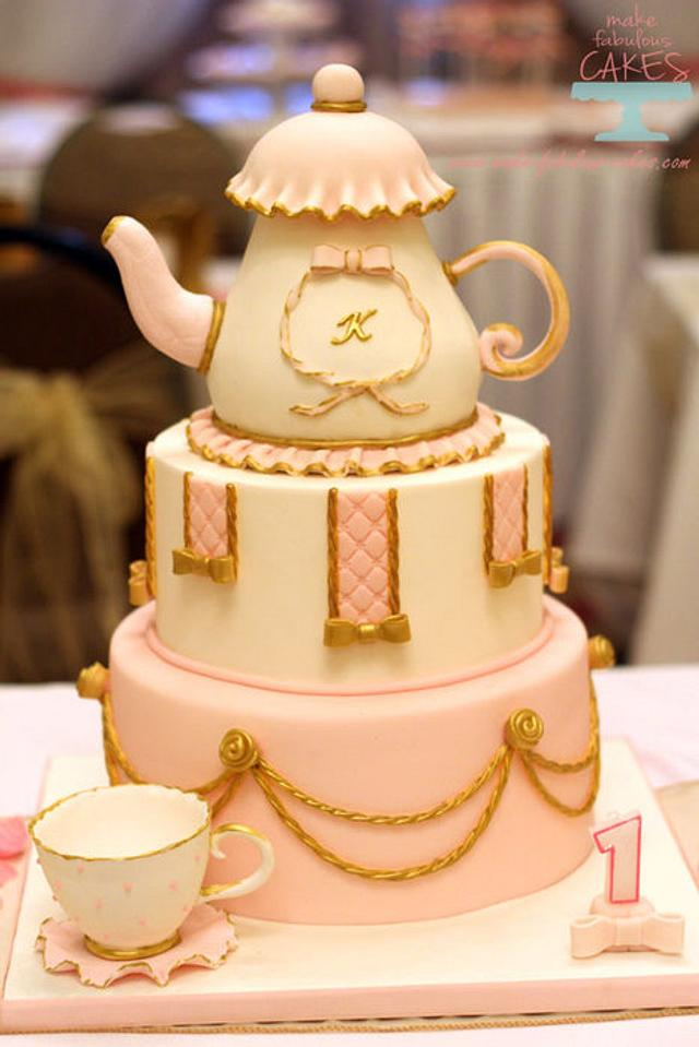 Pink and Gold Teapot cake