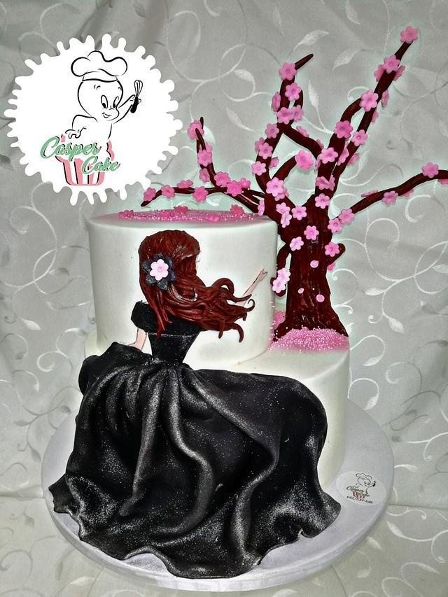 Elegant cherry blossom cake