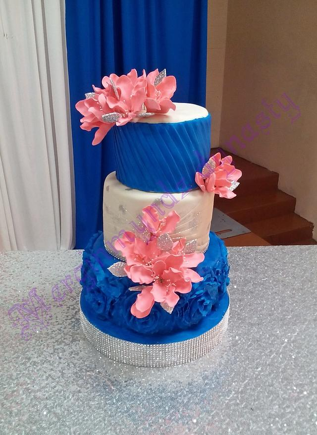royal blue, coral and ivory