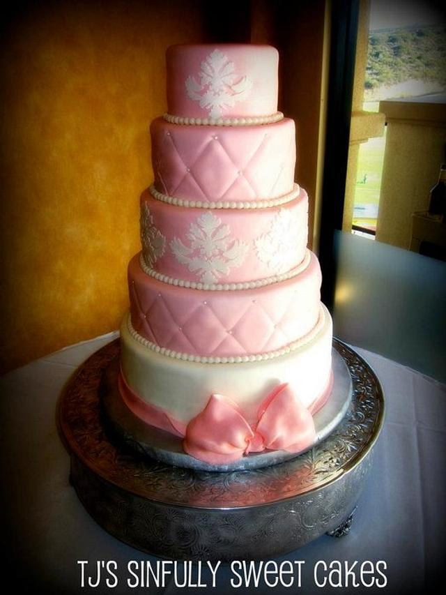 Pink Damask Wedding Cake