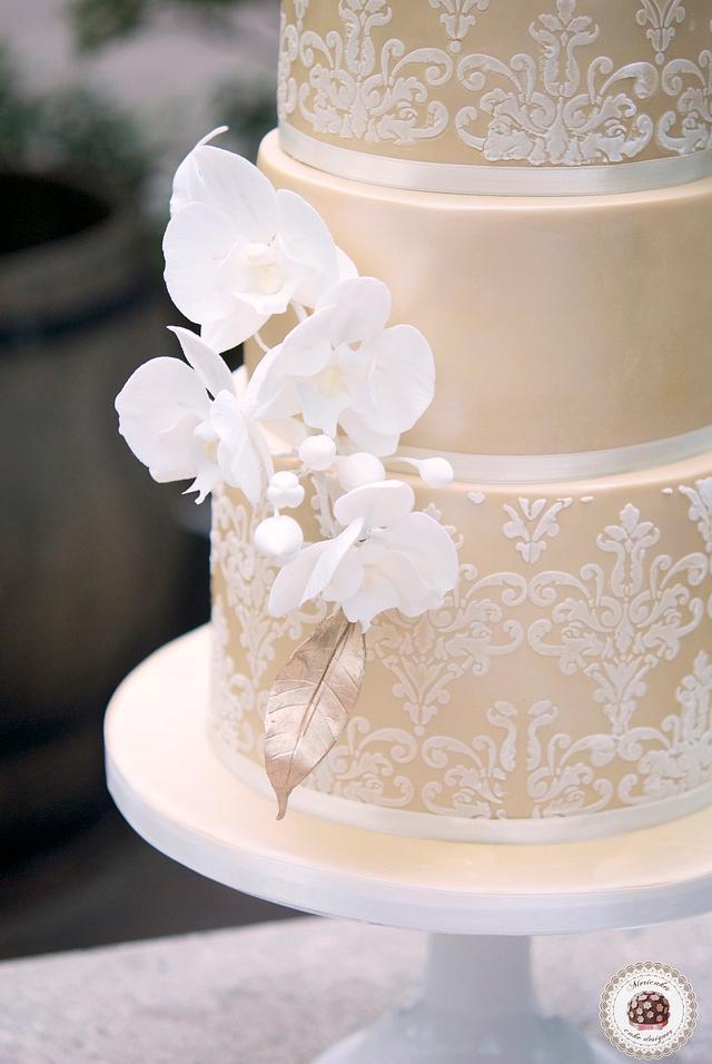 Damask Orchid Wedding Cake by Mericakes