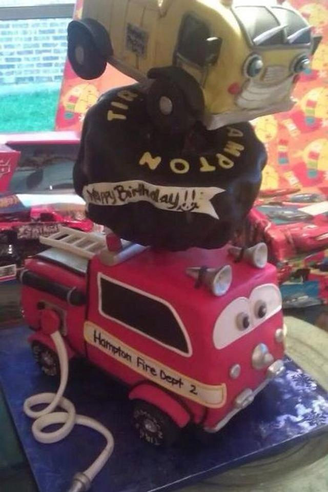 Tonka Truck, Tire, and Firetruck Cake