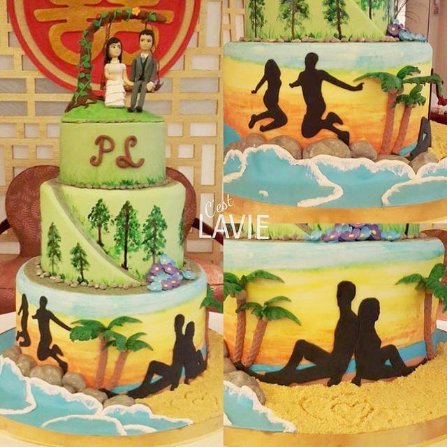 Hand-painted Wedding Cake - Adventure