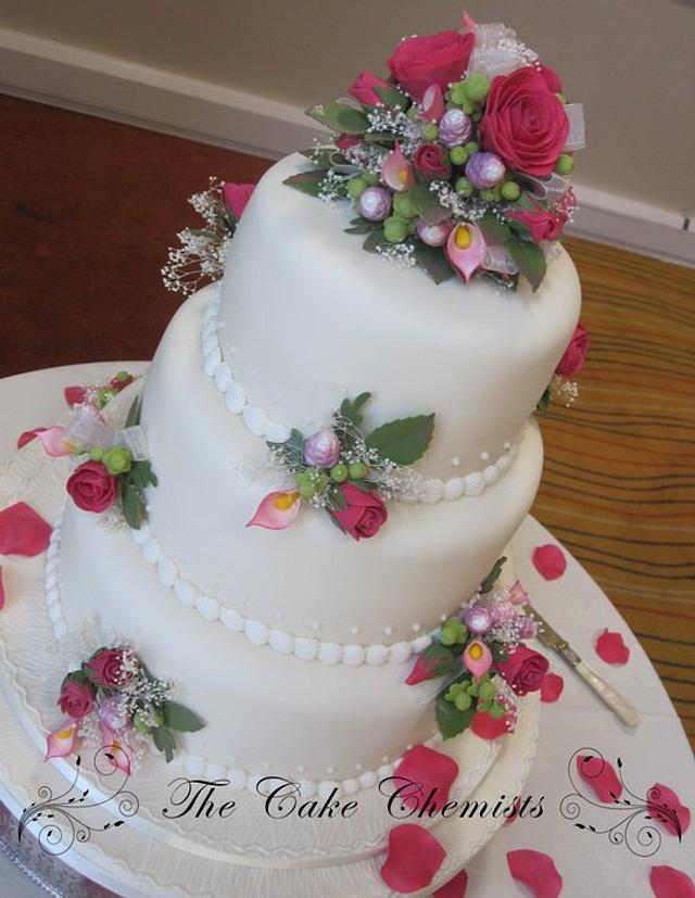 Hot Pink Princess Rose Cake