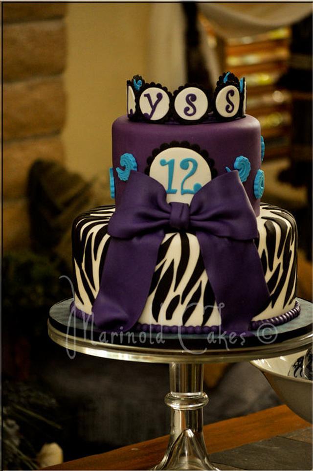 Purple Zebra Birthday Cake