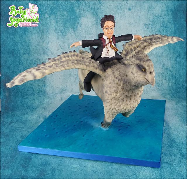 Harry Potter flying on Buckbeack - Hogwarts Cake Challenge