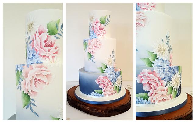 Grey/blue ombre with hand painted flowers