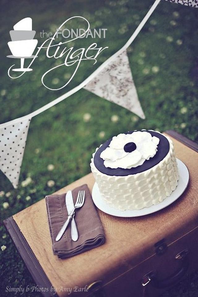 Petal cake with peony