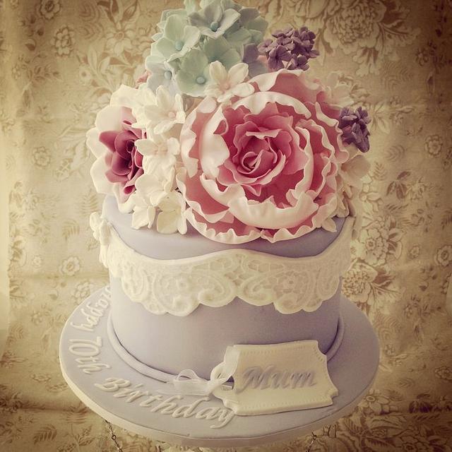 Prime Vintage Birthday Cake Cake By Priscillas Cakes Cakesdecor Personalised Birthday Cards Veneteletsinfo