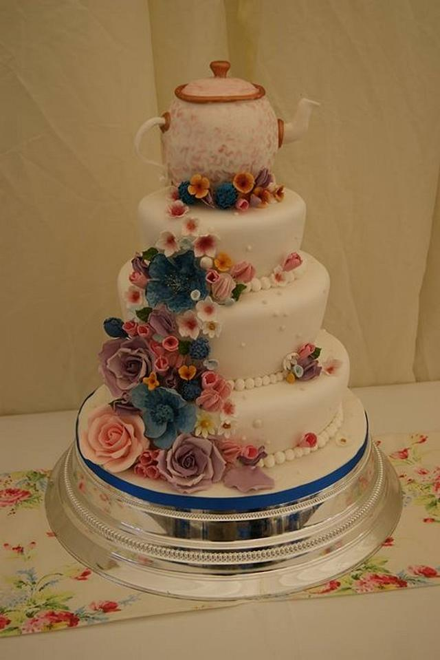 4 tier Whimsical Teapot Wedding cake
