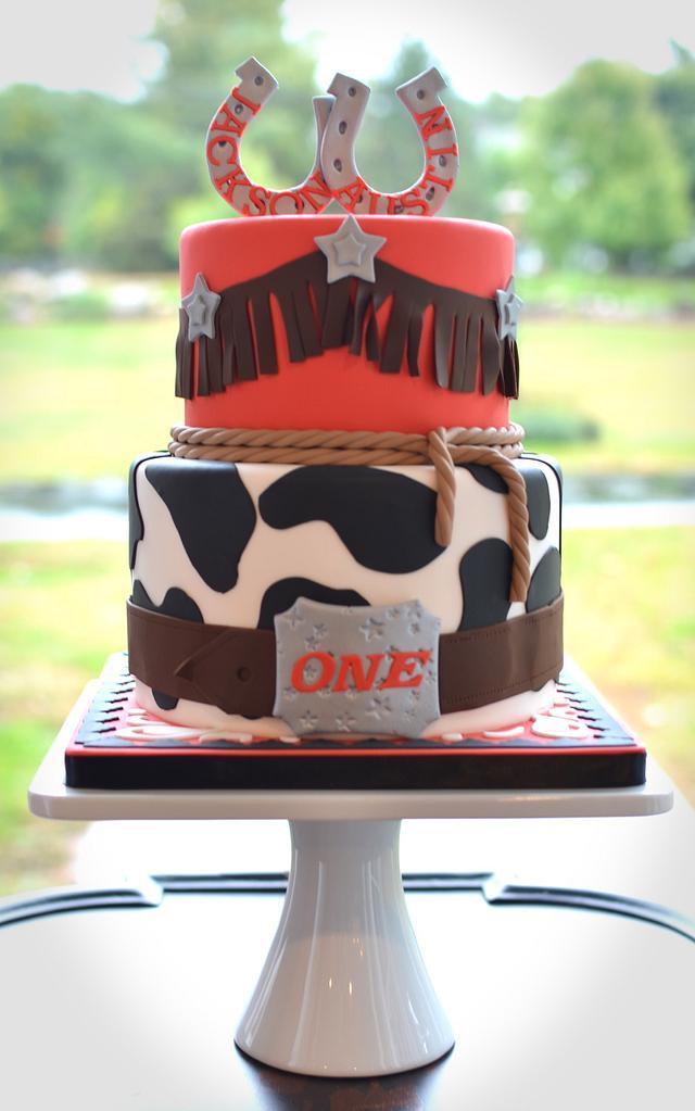Super Western Themed First Birthday Cake Cake By Elisabeth Cakesdecor Funny Birthday Cards Online Alyptdamsfinfo
