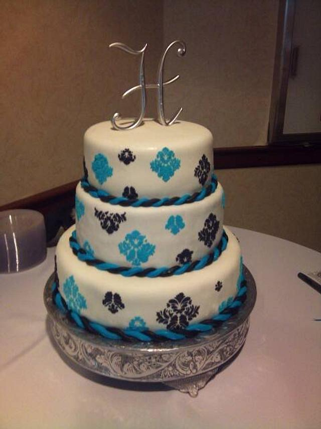 Black n Blue Damask