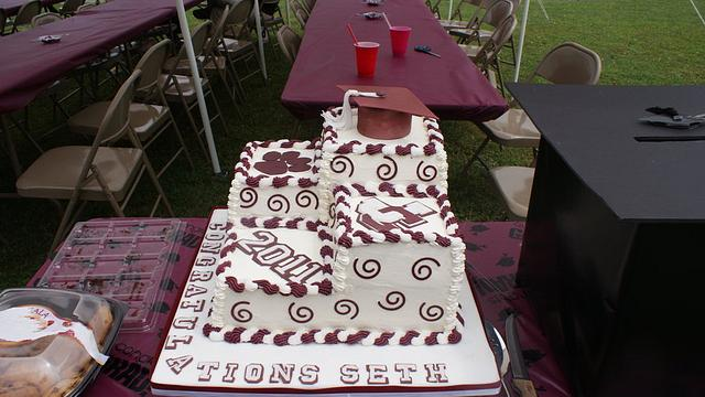 Maroon and White Graduation Cake