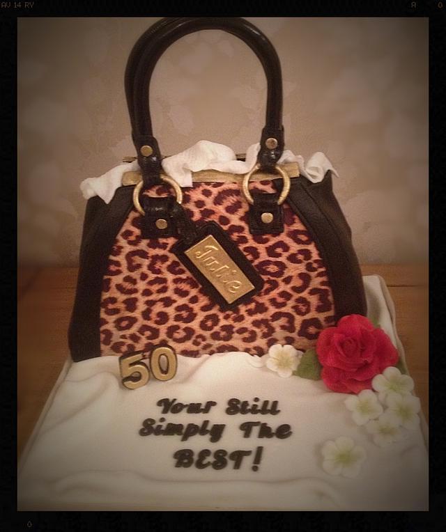 Leopard print handbag cake