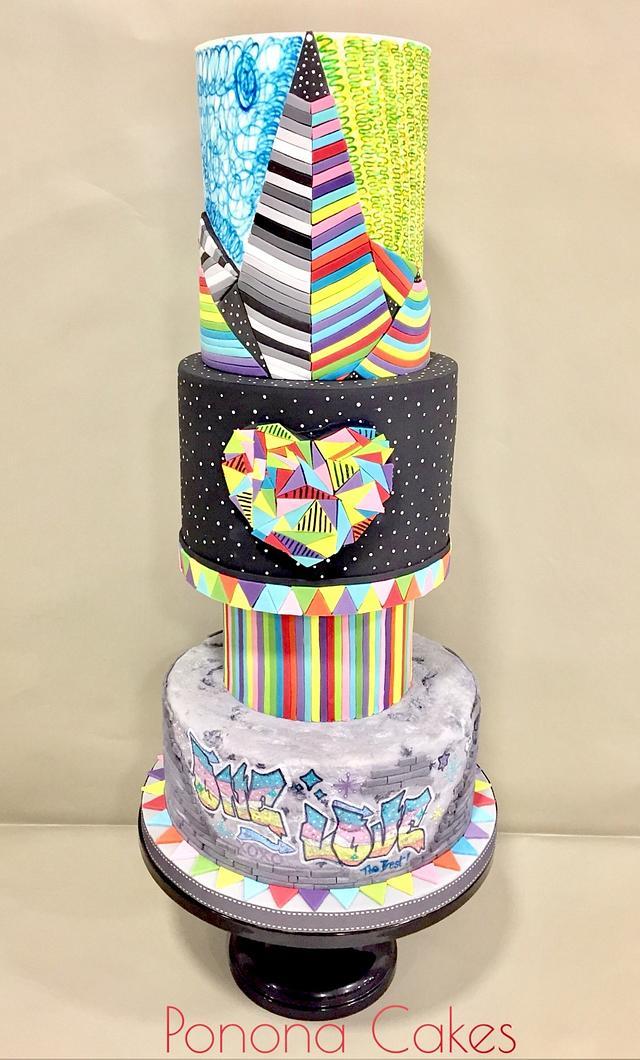 Okuda wedding cake - my silver at Cake International