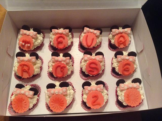 First minnie mouse cake and cupcakes