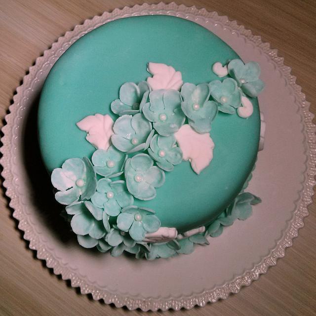 teal floral cake