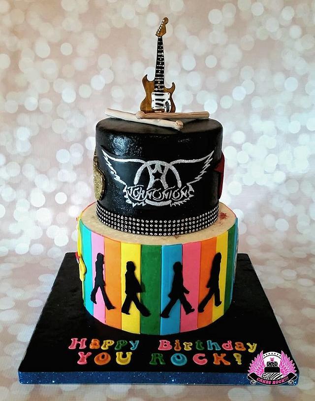 Sensational Guitar Beatles Aerosmith Birthday Cake Cake By Cakes Cakesdecor Funny Birthday Cards Online Alyptdamsfinfo