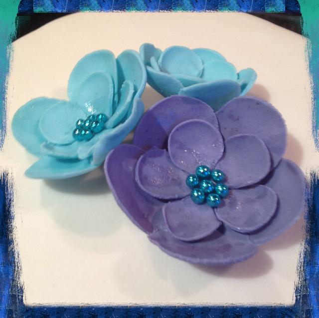 Turquoise and purple Birthday Cake