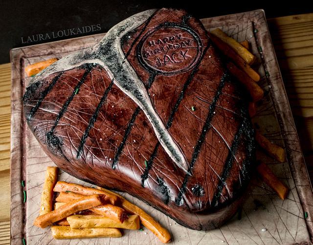 Giant T-Bone Steak Cake