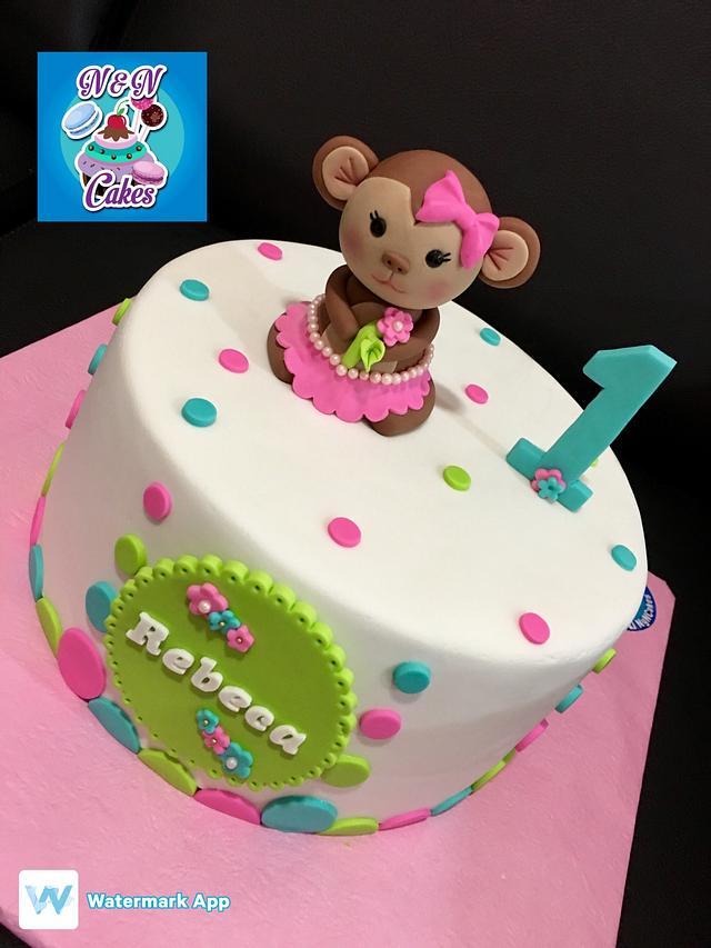 Superb Girlie Monkey First Birthday Cake By Nn Cakes Rodette Cakesdecor Personalised Birthday Cards Veneteletsinfo