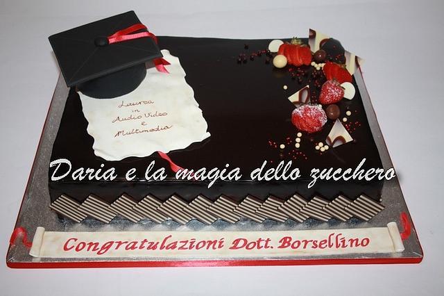 graduation cake with mirror glaze