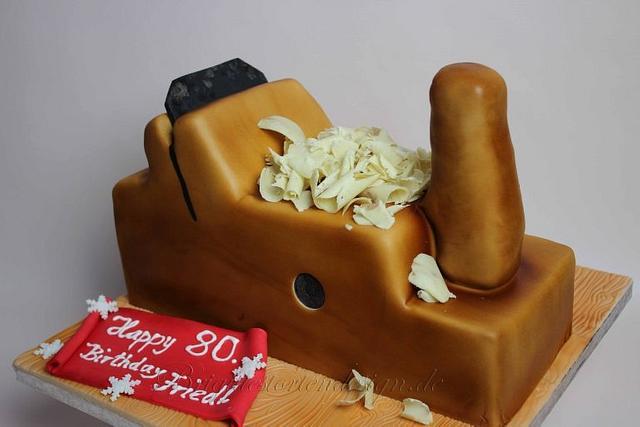 Wood plane 3 D cake