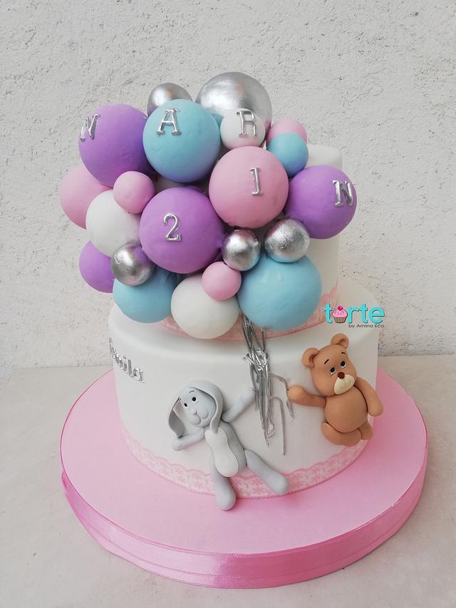 Superb Narins Balloon Birthday Cake Cake By Torte By Amina Cakesdecor Funny Birthday Cards Online Elaedamsfinfo