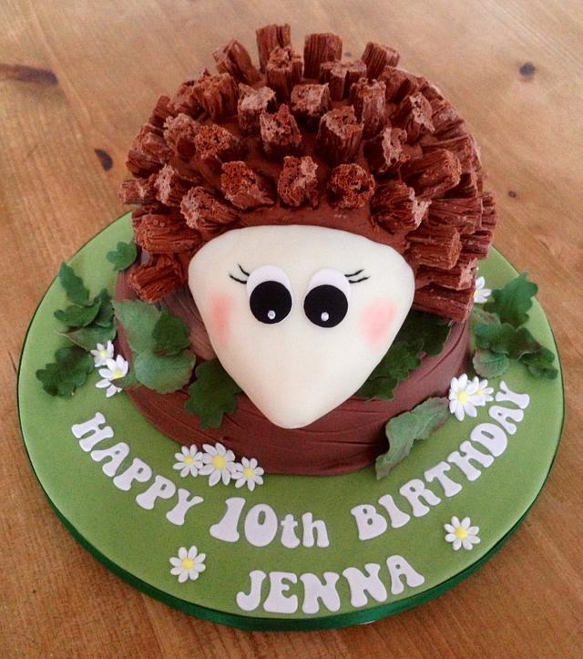 Peachy Hedgehog Birthday Cake Cake By Cherry Delbridge Cakesdecor Funny Birthday Cards Online Inifodamsfinfo