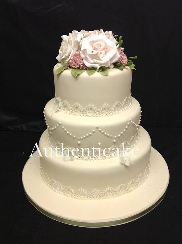 Today's vintage wedding  sugar roses, freesias etc