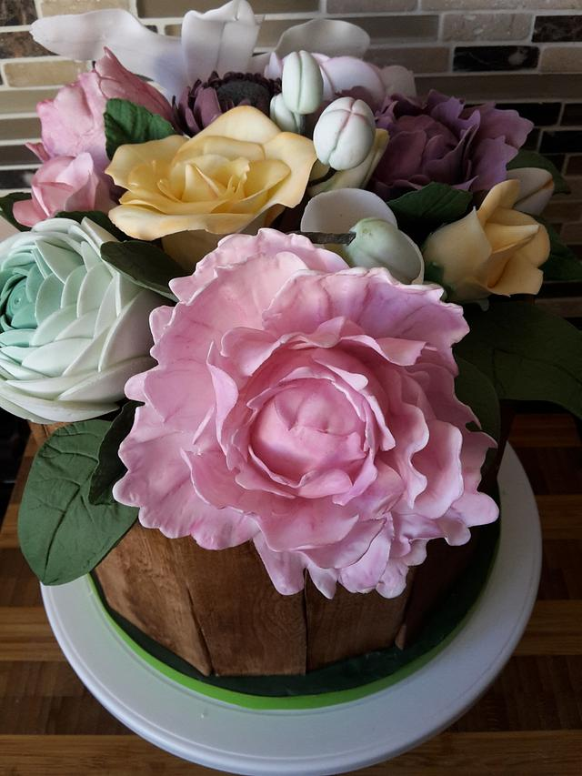 80th Flowers Birthday Cake (my first flowers)